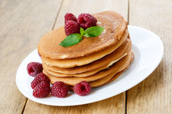 Ready to eat pancakes with raspberry Royalty Free Stock Photography