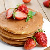 Ready to eat pancakes with strawberry Royalty Free Stock Photography