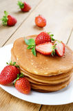 Ready to eat pancakes with strawberry Stock Photo