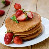 Ready to eat pancakes with strawberry Royalty Free Stock Photo