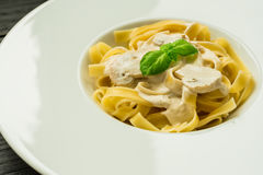 Ready to eat pasta with mushrooms and cream sauce Stock Photography