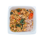 Ready to eat rice box vegetarian food for lunch isolate on white Stock Photos