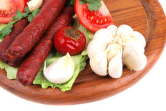 Ready to eat thick sausages Royalty Free Stock Image