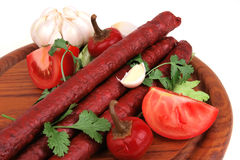 Ready to eat thick sausages Royalty Free Stock Photography