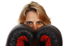 Ready to fight. Business woman with positive attitude, willing to solve any arriving problems with a competitive estate of mind Stock Photography