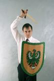 Ready to fight. Armed man with sword and schield Royalty Free Stock Photo