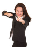 Ready to fight. Pretty businesswoman is ready to fight royalty free stock image