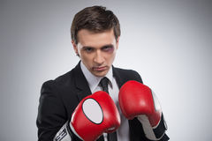 Ready to fight. Man is getting ready to fight back Stock Photography