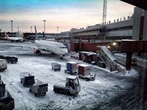 Ready to fly from Stockholm. Waiting for my flight Royalty Free Stock Image