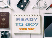 Ready to go book now text on a book Royalty Free Stock Photos