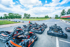 Ready-to-go racing carts Stock Images