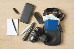 Ready-to-go spy kit stock photos