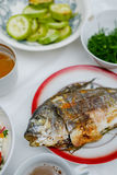 Ready-to-grill dorado fish. Fish and eggplants are on the village table. View from above Stock Photo