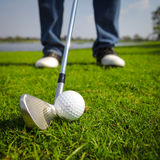 Ready to hit. A golf ball royalty free stock images