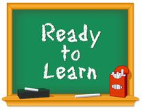 Ready to Learn Chalkboard, Box of Chalk, Eraser royalty free stock photo