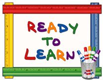 Ready to Learn White Board, Ruler Frame, Marker Pens royalty free stock images