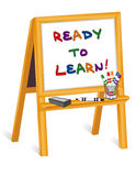 Ready to Learn, Whiteboard Easel. Ready to Learn text on whiteboard, child's wood easel with dry erase markers and eraser. EPS8 in groups for easy editing Stock Photo