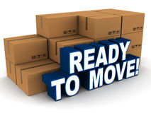 Ready to move. Text by packed up card board boxes on white background, moving and packing concept stock illustration