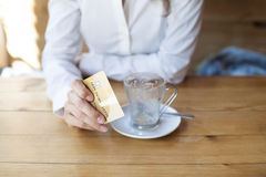 Ready to pay coffee with credit card Stock Image