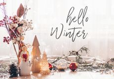 Ready to postcard Hello Winter. Christmas festive decor still life on wooden background, concept of home comfort and holiday. Ready to postcard Hello Winter stock photos