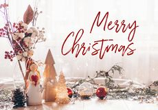 Ready to postcard Merry Christmas. Christmas festive decor still life on wooden background, concept of home comfort and holiday. Ready to postcard Merry royalty free stock photo