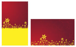 Ready to print Business Cards. Yellow flowers on the red background Stock Photo