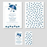 Baby boy shower set - invitation and thank you tag front and back. Blue umbrella with hearts casting shadows. vector illustration