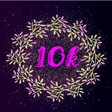 10k follower background with flat gradient wreath on glitter background. Ready-made layout for social media Stock Photo