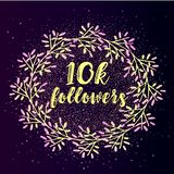 10k follower background with flat gradient wreath on glitter background. Beautiful social media icon Royalty Free Stock Image