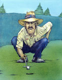 Ready to putt. Hand-made artistic illustration of a golf player studying how to face the next hole Stock Photo