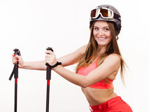 Ready to ride woman wearing ski suit holding poles Stock Image