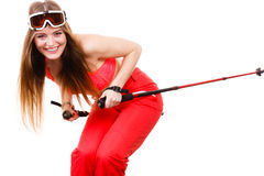 Ready to ride woman wearing ski suit holding poles Royalty Free Stock Photos