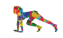 Ready to run. Abstract girl silhouette  is ready to run Royalty Free Stock Images