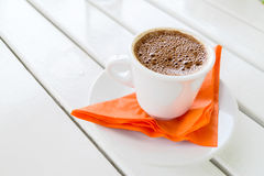 Ready to serve cup of traditional greek coffee Stock Image