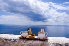Ready to serve cup of traditional greek coffee Royalty Free Stock Photography