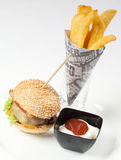 Ready to serve hamburger menu with fries and mayo. Fast food on the street or in restaurant, pension or hotel. American style recipe Stock Image