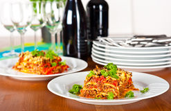 Ready to serve lasagne Stock Images