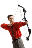 Ready to shoot. Conceptual image of serious man taking aim at something Royalty Free Stock Images