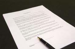Ready to sign. Contract and pen Stock Images