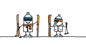 Ready to ski !. Hand drawn characters Royalty Free Stock Image