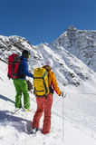 Ready to start - downhill powder skiing. Skiing in the alps - ski touring Royalty Free Stock Image