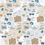 Ready to take off travel airplane pattern. Playful, cute, and flexible doodle set collection for brand who has fun style. The art vector graphic can be repeated Stock Photography