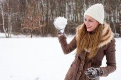 Ready to throw my snow ball Stock Image