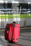 Ready To Travel. Luggage on the platform, waiting to board a high speed train royalty free stock photo