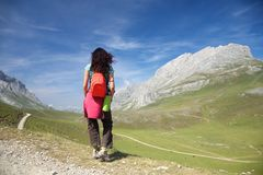 Ready to trekking Cantabrian mountains Royalty Free Stock Photo
