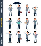 Ready to use character set. Young businessman. Stock Photo