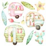 Ready to use children illustration style set of watercolor graphics including three retro caravans, three leaves, aqua cactus, yel royalty free illustration