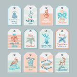Ready-to-Use Christmas and New Year Gift Tags or Labels Templates Set. Hand Drawn Christmas Sketches with Retro vector illustration