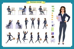 Ready-to-use lady character set. Young business woman in formal wear. Different poses and emotions. Running, standing, sitting, walking, happy, angry. Full stock illustration