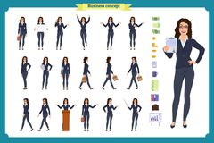 Ready-to-use lady character set. Young business woman in formal wear. Different poses and emotions. Running, standing, sitting, walking, happy, angry. Full vector illustration